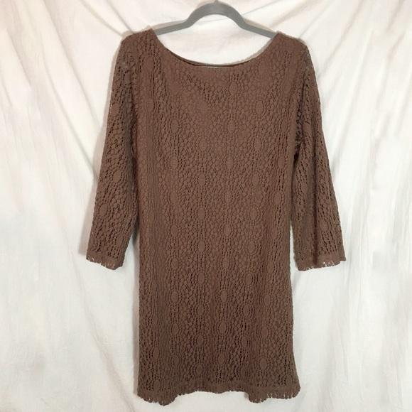 Sharagano Dresses & Skirts - Sharagano Brown Crochet Lace Dress size 16